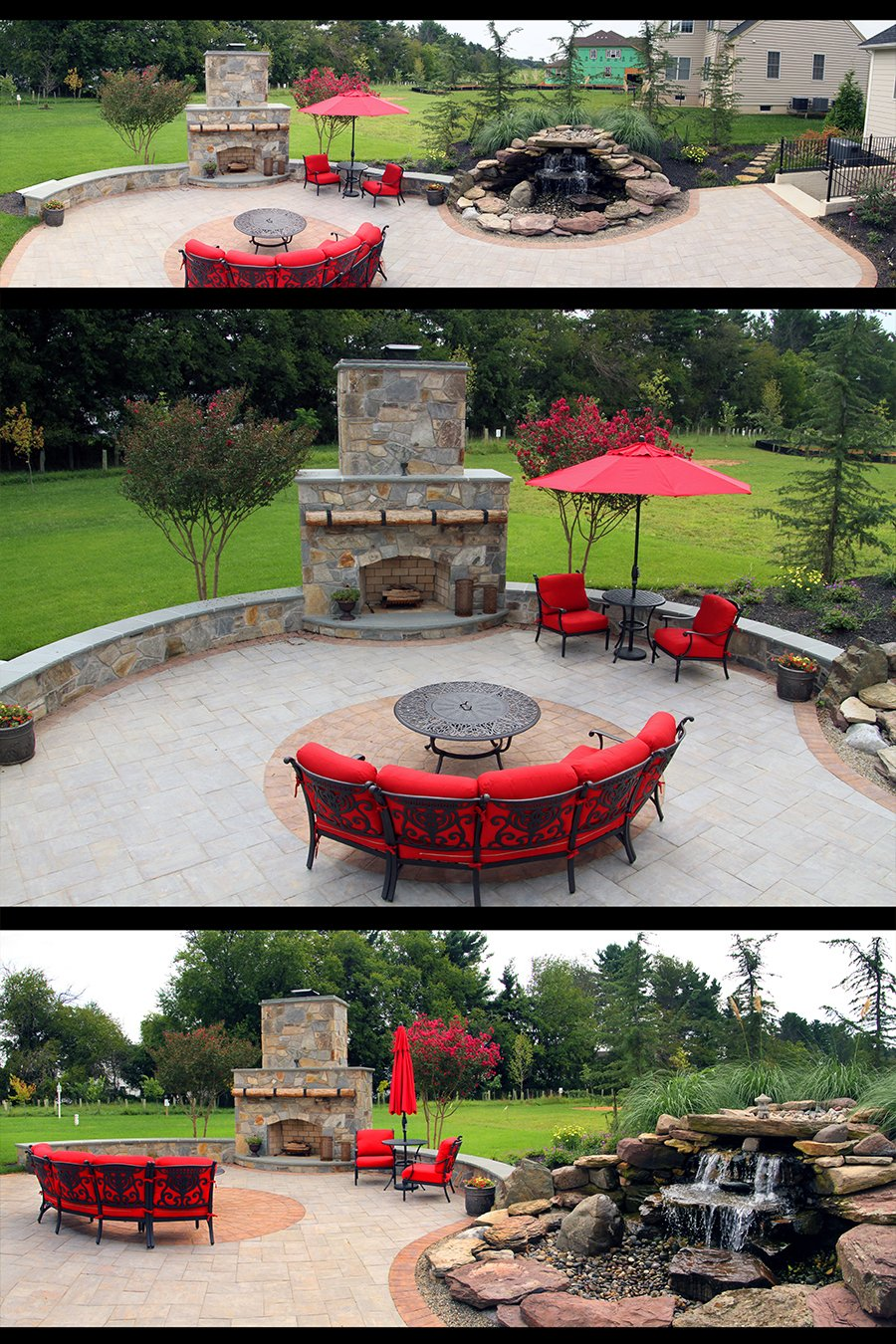 Outdoor fireplace construction company Rhine Landscaping
